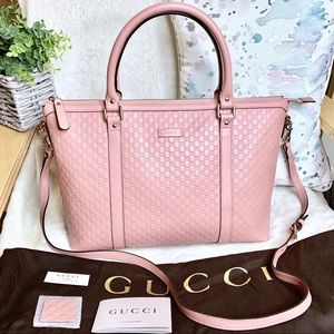 Gucci Microguccissima Margaux Pink Leather Tote